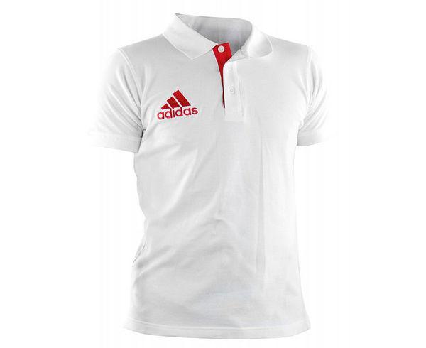 Рубашка-поло Pique Polo Shirt бело-красная AdidasРубашки поло<br>НОВИНКА 2017 года! Классическое спортивное поло на трех пуговицах из 100% хлопка, вышитый adidas на груди.  Отлично подходит для повседневной носки и для занятий спортом. Спортивный силуэт. 3 пуговицы. 100% хлопок.<br><br>Размер INT: XL