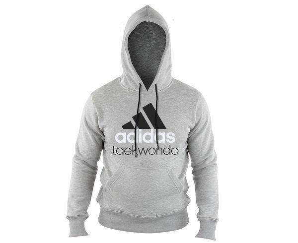Купить Толстовка с капюшоном (Худи) детская Community Hoody Taekwondo Kids серо-черная Adidas adiCHTKD-K (арт. 14735)