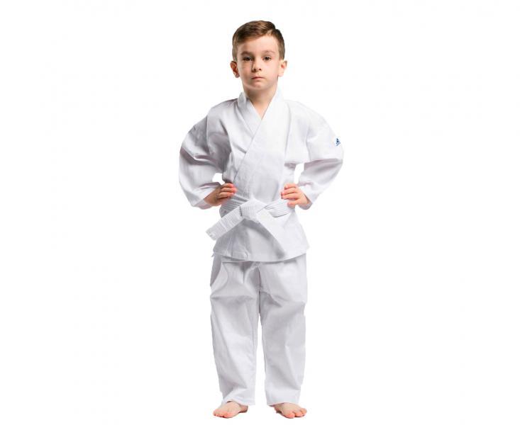 Кимоно для карате детское с поясом adiStart , белое AdidasЭкипировка для Каратэ<br>Детское кимоно для карате adiStart с поясом. Детская модель кимоно, для юных спортсменов. Сделан из легкого, приятного на ощупь материала, комбинации смеси полиэстера и хлопока, хлопковые волокна путем укрепления полиэфирными нитями увеличивает свою прочность на растяжение, и долговечность в использовании, а так же благодаря полиэфирным волокнам позволяет выводит наружу повышенную влажность, обеспечивает хорошую микровентиляцию, впитывает пот и выводит его на поверхность ткани для дальнейшего быстрого испарения. Вашему ребенку всегда будет комфортно во время тренировок. Модель состоит из куртки и брюк. Детали: куртка по бокам с завязками; брюки с эластичным поясом и кулиской.  Материал: 65%полиэстер, 35% хлопок. *Пояс в комплекте. Пояс на штанах на резинке +кулиска. Лёгкая, гибкая и прочная ткань. Пояс в комплекте. Брюки с эластичным поясом. Материал: 65%- хлопок, 35%- полиэстер. Статья как подобрать кимоно - http://combatmarkt. com/blog/my-pomozhem-vam-vybrat-kimono-dlya-karate-/<br><br>Размер: 120 см