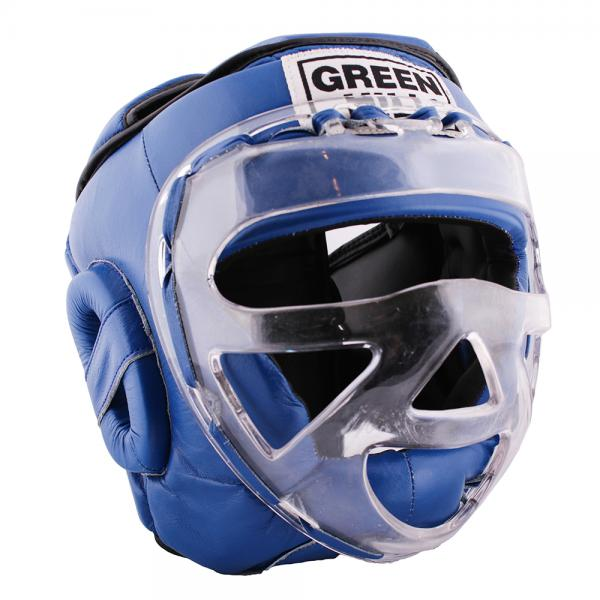 Детский шлем для бокса safe, Синий Green HillДля бокса<br>Материал: Натуральная кожаВиды спорта: БоксБоевой и тренировочный шлем. Сделан из высококачественной натуральной кожи. Усиленная защита в области ушей, и подбородка. Лицо защищает пластиковая маска. Размер:При подборе шлема следует также учесть, что размеры шлемов можно регулировать за счет специальных застежек. Для выбора шлемов, ориентируйтесь на следующие данные:охват головы - размер48-53 см - S54-56 см - М57-60 см – L61-63 см - XL<br><br>Размер: S