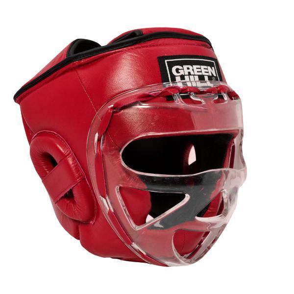 Детский шлем для бокса SAFE, Красный Green HillДля бокса<br>Материал: Натуральная кожаВиды спорта: БоксБоевой и тренировочный шлем. Сделан из высококачественной натуральной кожи. Усиленная защита в области ушей, и подбородка. Лицо защищает пластиковая маска. Размер:При подборе шлема следует также учесть, что размеры шлемов можно регулировать за счет специальных застежек. Для выбора шлемов, ориентируйтесь на следующие данные:охват головы - размер48-53 см - S54-56 см - М57-60 см – L61-63 см - XL<br><br>Размер: S