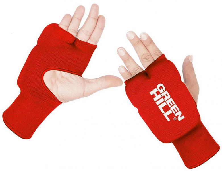 Накладки Каратэ Эластик на руки, красные Green HillЭкипировка для Каратэ<br>Накладки на руки для карате, со вставками из пенополиуретанаТкань: эластик/хлопок.<br><br>Размер: L