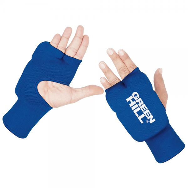 Накладки каратэ эластик на руки, синие Green HillЭкипировка для Каратэ<br>Накладки на руки для карате, со вставками из пенополиуретанаТкань: эластик/хлопок.<br><br>Размер: s