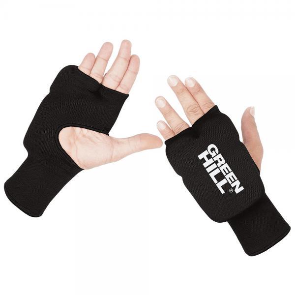 Накладки Каратэ Эластик на руки, черные Green HillЭкипировка для Каратэ<br>Накладки на руки для карате, со вставками из пенополиуретанаТкань: эластик/хлопок.<br><br>Размер: s