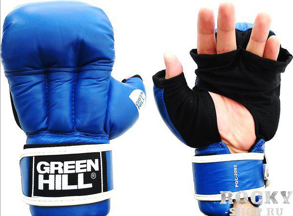 Перчатки для рукопашного боя Green Hill, синие Green HillЭкипировка для рукопашного боя<br>Перчатки для рукопашного боя и единоборств. Верх сделан из натуральной  кожи, со стороны ладони из хлопка.<br>