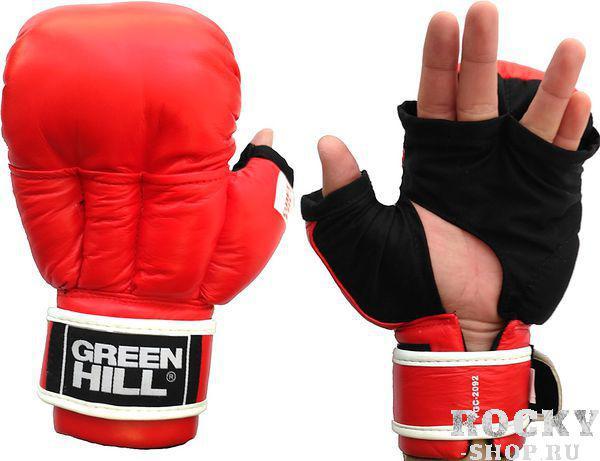 Перчатки для рукопашного боя Green Hill, красные Green HillЭкипировка для рукопашного боя<br>Перчатки для рукопашного боя и единоборств. Верх сделан из натуральной кожи, со стороны ладони из хлопка.<br><br>Размер: XL
