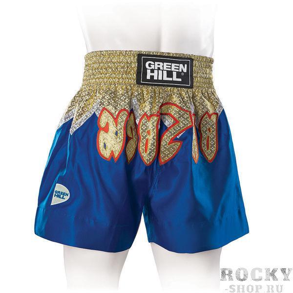 Трусы для тайского бокса combat, синие Green HillШорты для тайского бокса/кикбоксинга<br>Новинка от Green Hill. Современные яркие трусы для тайского бокса в которых вы будете чувствовать себя королём ринга!Материал - атласный полиэстер.<br><br>Размер INT: L