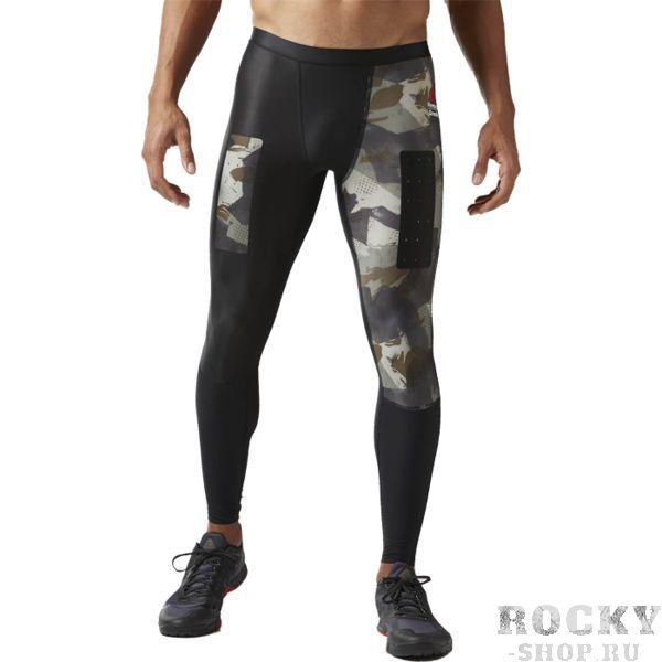 Компрессионные леггинсы Reebok ReebokКомпрессионные штаны / шорты<br>Компрессионные леггинсы Reebok CrossFit Printed. Для тебя CrossFit – это образ жизни. Эти компрессионные леггинсы обеспечивают надежную поддержку мышц во время тренировки, а высокопрочная ткань CORDURA обладает высоким уровнем сопротивления грубому трению. Система вентиляции защитит от перегрева, антибактериальная обработка позволит не беспокоиться о неприятном запахе. Материал: полиэстер / эластан для эластичности и высокой функциональности. Компрессионный крой, идеально прилегающий к телу, обеспечивает максимальную поддержку мышц. Технология Speedwick отводит влагу с поверхности тела, оставляя ощущение сухости и комфорта. Антибактериальная пропитка предотвращает появление неприятного запаха и защищает от микробов. Проклеенные вставки из материала CORDURA для износостойкости. Яркий камуфляжный принт для эффектности. Уход: машинная стирка в холодной воде, деликатный отжим, не отбеливать.<br><br>Размер INT: XL