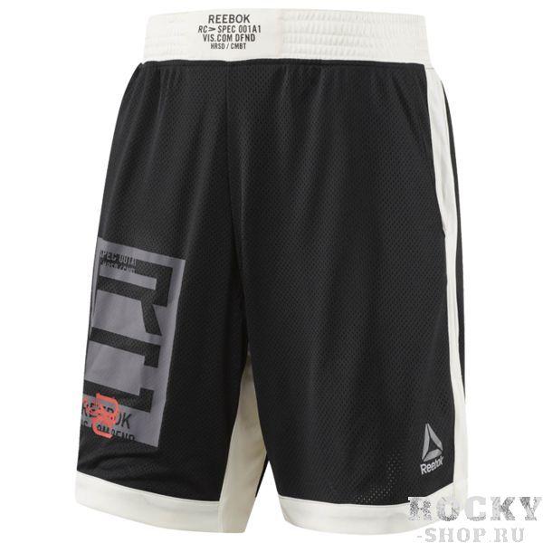 Шорты Reebok ReebokСпортивные штаны и шорты<br>Спортивные шорты Reebok Combat Boxing. Эти шорты из полиэстера с сетчатыми вставками - просто олицетворение комфорта. Технология отвода влаги удаляет излишки пота с поверхности тела. Длина по внутреннему шву 23 см обеспечивает защиту, не стесняя движений. Материал: 100% полиэстер, сетчатая ткань для вентиляции. Облегающий крой отлично подходит для интенсивных тренировок и совершенно не стесняет движений. Технология Speedwick отводит влагу с поверхности тела, оставляя ощущение сухости и комфорта. Длина по внутреннему шву 23 см. Принты на поясе и по нижнему краю. Уход: машинная стирка в холодной воде, не отбеливать.<br>