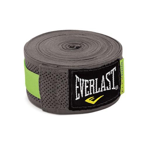 Бинты Everlast Breathable, серые, 4.5 метра, 4,5 метра EverlastБоксерские бинты<br>Эластичный бинт FLEXCOOL™ Hand Wraps гарантирует наивысшую степень удобства и безопасности во в ходе занятий спортом. Сетчатый материал превосходно защищает костяшки пальцев, ладонь и запястье, и, в то же в ходе, не противостоит доступу кислорода к коже, позволяя руке дышать. Бинт снабжен удобным фиксатором на большой палец и высокопрочной застежкой на липучке. Изготовлен из современного эластичного материала, вследствие чему обладает наивысшей прочностью и износоустойчивостью. Подлежит машинной стирке.<br><br>Цвет: серые