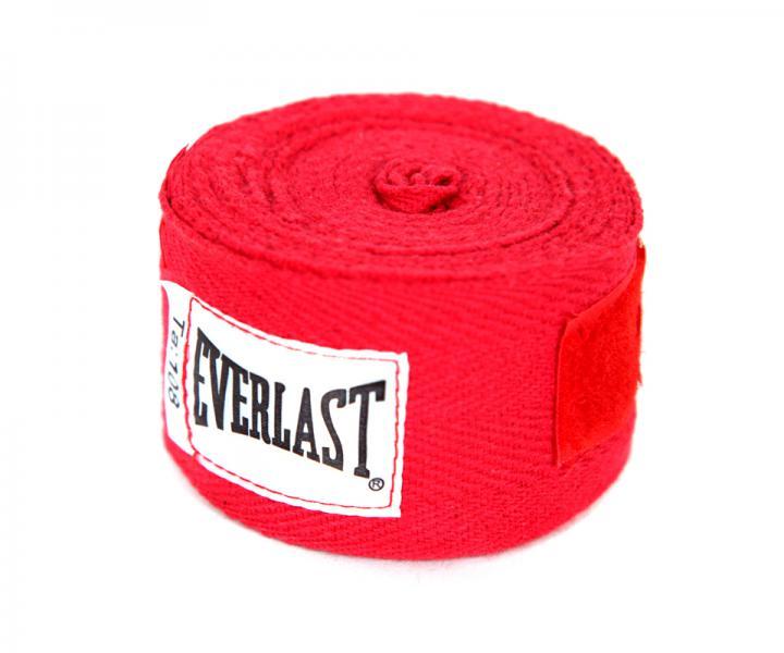 Бинты боксерские Everlast, 2.75 метра, 2,75 метра EverlastБоксерские бинты<br>Тренировочный бинт для боксерских перчаток. Изготовлен из 100% хлопка, что гарантирует безопасность и жесткую фиксацию предплечья во в ходе занятий спортом. Удобный ремешок для большого пальца и застежка на липучке позволяют с безболезненностью закрепить бинт на руке. Длина 108 дюймов (около 275 сантиметров), можно подвергать машинной стирке.<br><br>Цвет: красные