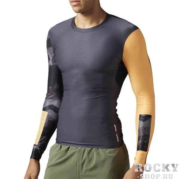 Компрессионная футболка Reebok CrossFit ReebokРашгарды<br>Компрессионная футболка с длинным рукавом Reebok CrossFit. Ты стремишься к большему, и тебе нужна экипировка, в которой ты сможешь выкладываться на полную. Компрессионная ткань поддерживает мышцы и снимает напряжение. Износостойкие вставки на предплечьях гарантируют защиту во время тренировки на кольцах. Материал: полиэстер / эластан для эластичности и комфорта. Компрессионный крой, идеально прилегающий к телу, обеспечивает максимальную поддержку мышц. Технология Speedwick отводит влагу с поверхности тела, оставляя ощущение сухости и комфорта. Сетчатая жаккардовая спинка для эффективной вентиляции. Антибактериальная обработка предотвращает появление неприятного запаха. Цельнокроеная задняя часть рукава для большей свободы. Прочные проклеенные вставки на предплечьях для износостойкости.<br><br>Размер INT: L