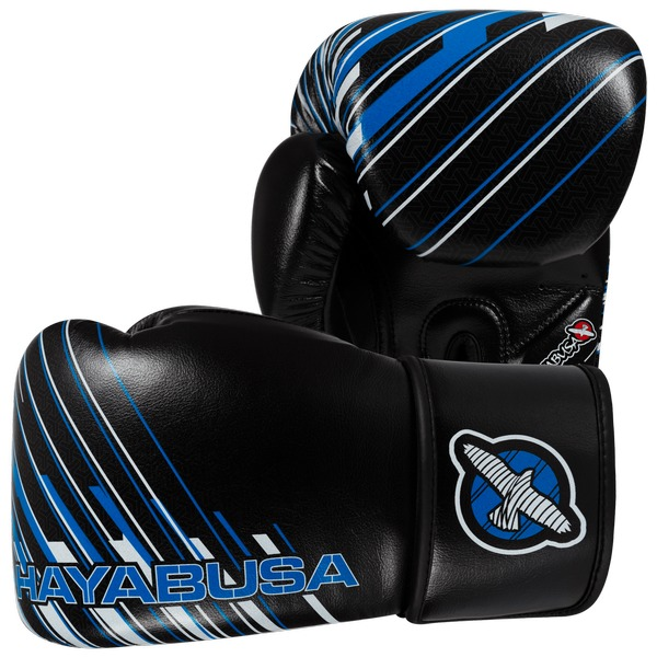 Купить Перчатки боксерские Hayabusa Ikusa Charged 12oz Gloves-Black/Blue 12 унций (арт. 15148)