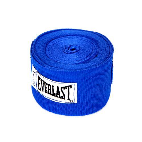 Бинты боксерские Everlast, 3 метра, 3 метра EverlastБоксерские бинты<br>Эластичный бинт для проработки с боксерскими перчатками. Изготовлен из смеси хлопка и спандекса (эластан) для предельной безопасности и закрепления руки. Удобный ремешок для большого пальца и застежка на липучке позволят просто и быстро закрепить бинт. Длина 3 метра, ширина 5 сантиметров.<br><br>Цвет: синие