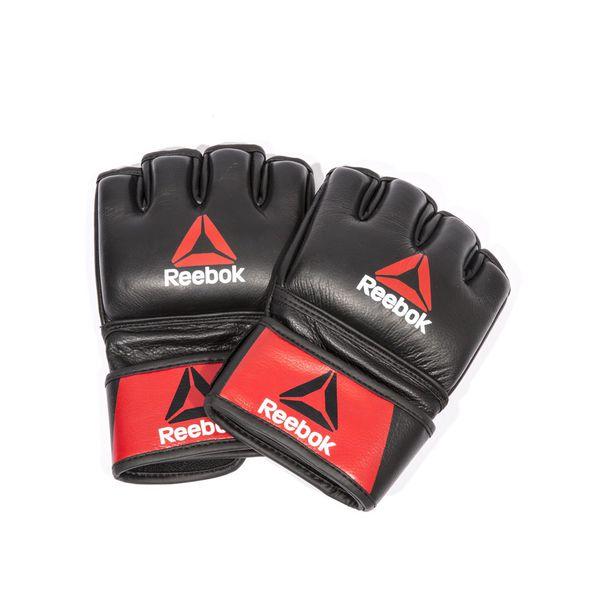 Профессиональные кожаные перчатки Reebok Combat для MMA ReebokПерчатки MMA<br>Профессиональные кожаные перчатки Reebok Combat для MMA. ММА это один из быстро развивающихся полноконтактных видов боевых искусств, включающих все виды ударов и захватов в положениях и стоя, и на полу.  Если Вы хотите тренироваться, как профессионал, Вам нужны перчатки, дающие превосходную защиту. Эти перчатки с открытой ладонью идеальны для всех техник восьмиугольника, а прочная застежка, оборачивающаяся вокруг запястья, позволит их надежно зафиксировать. Перчатки Reebok MMA выполнены из качественной натуральной кожи, имеют плотную поглощающую внутреннюю вставку – мягкие изнутри, и жесткие снаружи. Оборудование серии Reebok Combat сделано, чтобы создавать и поддерживать успех: для тех, кто хочет тренироваться, или уже тренируется, как боец.<br>