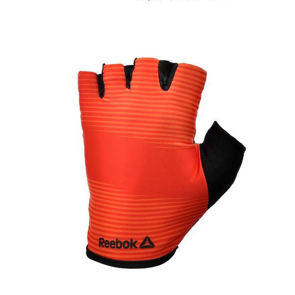 Тренировочные перчатки Reebok (без пальцев) красные ReebokПерчатки для фитнеса<br>Яркие и легкие перчатки Reebok. Обеспечивая истинный комфорт, красные тренировочные перчатки Reebok позволят улучшить захват при работе с гантелями, штангами и гирями. Вам не нужно беспокоиться о поте, поскольку перчатки Reebok выполнены из «дышащего» материала, что позволяет отводить пот от рук.<br>