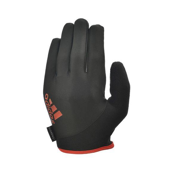 Перчатки для фитнеса (с пальцами) Adidas Essential черно-красные AdidasПерчатки для фитнеса<br>Охлаждающие перчатки для поднятия тяжестей. Все перчатки для поднятия веса серии adidas essential созданы с применением охлаждающей технологии climacool®, позволяющей мгновенно отводить влагу и поддерживать комфортной температуру Ваших рук во время тренировки. Полные перчатки adidas для поднятия тяжестей обеспечивают лучшую защиту, минимизируя напряжение в руках и уменьшая трение рук с весами и тяжелоатлетическим оборудованием.  Снижая вероятность появления мозолей и волдырей на ладонях при поднятии тяжестей, перчатки adidas обеспечивают лучший захват и создают дополнительную естественную защиту вокруг руки для уменьшения растяжений и нагрузок.<br><br>Размер: M