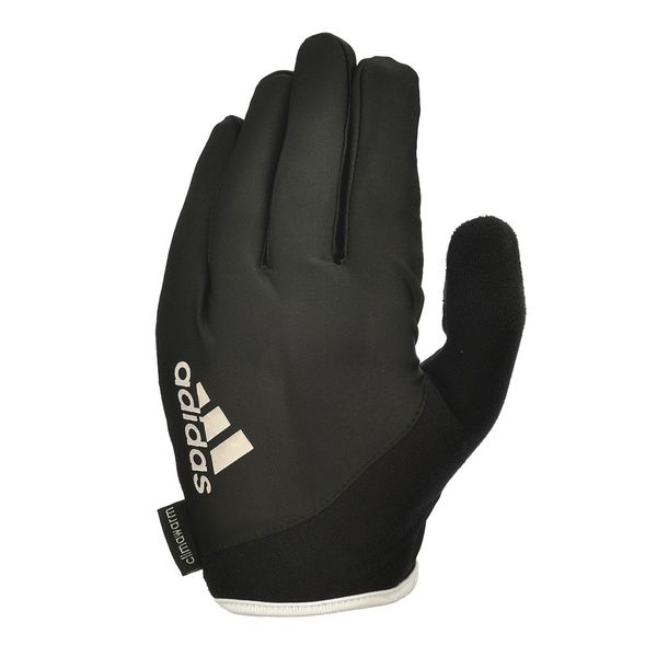 Перчатки для фитнеса (с пальцами) Adidas Essential черно-белые AdidasПерчатки для фитнеса<br>Охлаждающие перчатки для поднятия тяжестей. Все перчатки для поднятия веса серии adidas essential созданы с применением охлаждающей технологии climacool®, позволяющей мгновенно отводить влагу и поддерживать комфортной температуру Ваших рук во время тренировки. Полные перчатки adidas для поднятия тяжестей обеспечивают лучшую защиту, минимизируя напряжение в руках и уменьшая трение рук с весами и тяжелоатлетическим оборудованием.  Снижая вероятность появления мозолей и волдырей на ладонях при поднятии тяжестей, перчатки adidas обеспечивают лучший захват и создают дополнительную естественную защиту вокруг руки для уменьшения растяжений и нагрузок.<br><br>Размер: M