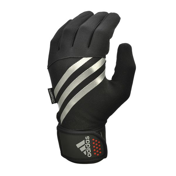 Тренировочные перчатки Adidas утепленные AdidasПерчатки для фитнеса<br>Тренируйтесь на воздухе с утепленными перчатками adidas climawarm®. Идеальные для холодной погоды, перчатки adidas созданы из лёгкого и «дышащего» тканого синтетического материала. Созданная для комфортных тренировок на свежем воздухе, технология climawarm® не выпускает тепло тела наружу и не пропускает холодный воздух внутрь, позволяя Вам тренироваться максимально эффективно. В то же время, синтетические волокна материала располагаются достаточно свободно, чтобы отводить пот. Перчатки созданы из эластичных материалов, легко и удобно садятся на руку, а застёжки-липучки надежно удерживают их на месте. Дизайн перчаток с тремя белыми полосками и красными акцентами отлично дополнит Ваш внешний вид.<br><br>Размер: L