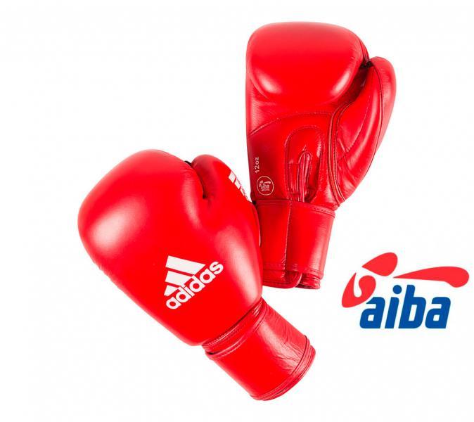 Перчатки боксерские AIBA Сertifited, 10 унций AdidasБоксерские перчатки<br>Сертифицированы International Boxing Association<br> 100%  натуральная кожа высочайшего качества<br> Фиксированный  палец, препятствует образованию травм<br> Застёжка  липучка<br> Мягкая  синтетическая подкладка, с влагопроводящими свойствами<br><br>Цвет: синие