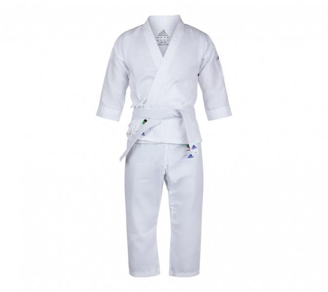 Кимоно для карате подростковое с поясом Evolution WKF белое AdidasЭкипировка для Каратэ<br>Детское кимоно для карате adidas Evolutionс поясом. 2 размера в 1. Детская модель кимоно, для начинающих спортсменов. Сделан из легкого, приятного на ощупь материала, комбинации смеси полиэстера и хлопока, хлопковые волокна путем укрепления полиэфирными нитями увеличивает свою прочность на растяжение, и долговечность в использовании, а так же благодаря полиэфирным волокнам позволяет выводит наружу повышенную влажность, обеспечивает хорошую микровентиляцию, впитывает пот и выводит его на поверхность ткани для дальнейшего быстрого испарения. Вашему ребенку всегда будет комфортно во время тренировок. Модель состоит из куртки и брюк. Детали: куртка по бокам с завязками; брюки с эластичным поясом и кулиской.  Материал: 75% полиэстер 25% хлопок. Изготовлено по стандартам WKF(World Karate Federation)Регулируемая длина куртки и брюк. 2 размера в 1Равномерно растёт вместе с ребёнком. Пояс на штанах на резинке +кулиска. Лёгкая, гибкая и прочная ткань. Брюки с эластичным поясом. Материал: 75%- хлопок, 25%- полиэстер.<br><br>Размер: 140-150 см