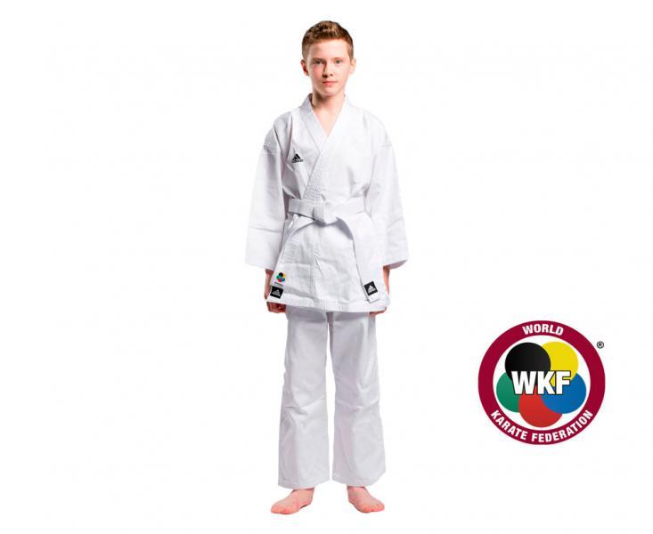 Кимоно для карате Club Climacool WKF белое AdidasЭкипировка для Каратэ<br>Кимоно Adidas Club WKF CLIMACOOL - кимоно сделано из легкого, приятного на ощупь бинарного материала, комбинации смеси полиэстера и хлопка, хлопковые волокна путем укрепления полиэфирными нитями увеличивает свою прочность на растяжение,и долговечность в использовании, а так же позволяет выводит наружу повышенную влажность. Вам и вашему ребенку всегда будет комфортно во время тренировок. КимоноClub WKFодобрено Международной федерацией каратэ(World Karate Federation). Подходит, как для начинающих, так и для продвинутых спортсменов. Материал: 60%-хлопок, 40%- полиэстер. Модель состоит из куртки и брюк. Детали: брюки на резинке+кулиска. Материал: 60% хлопок 40% полиэстер. *Кимоноидет без пояса. Пояс продается отдельно.  Одобрено Международной федерацией каратэ(World Karate Federation)Пояс на штанах на резинке +кулиска. Лёгкая, гибкая и прочная ткань. Материал: 60%- хлопок, 40%- полиэстер.<br><br>Размер: 130 см