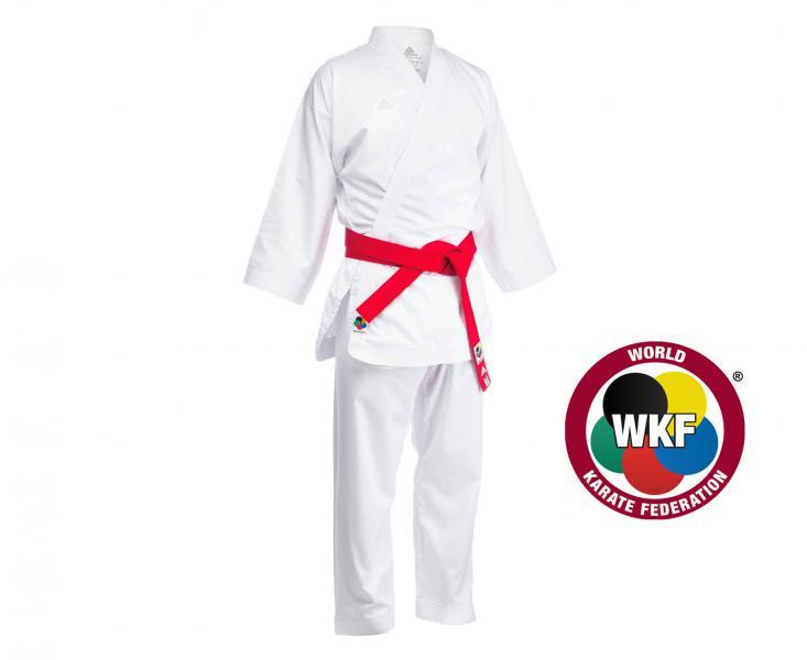 Кимоно для карате Adizero WKF белое AdidasЭкипировка для Каратэ<br>Новинка 2017 года.  Данное кимоно взяли на вооружении многие сборные. Отличительной чертой кимоно является состав:100% полиэстер, который не дает усадку и является очень легким материалом, которыйпроводит воздух обеспечивая комфорт в каратеги. Одобрено WKF ( Всемирная Федерация Каратэ).  Оригинальный дизайн, закругленности кимонопридаетвизуально узкий силуэт. Супер легкое кимоно. Приятный на ощупь материал. Выбор профессионалов. Испытано многими топ спортсменами. Состав:100% полиэстер. Отводит влагу и проводит воздух для комфорта в каратеги. Исключена усадка при соблюдении температурного режима стирки. Оригинальный дизайн. Одобрено WKF. Штаны на резинке + кулиска.<br><br>Размер: 185 см