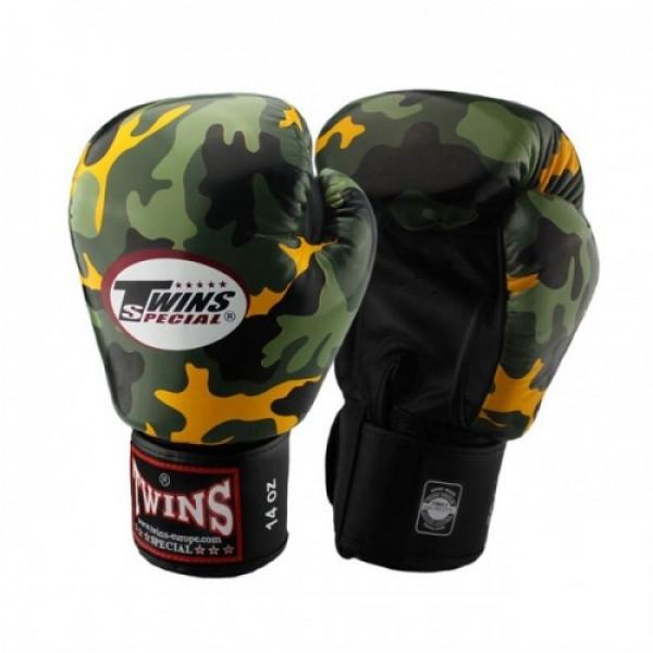 Перчатки боксерские Twins FBGV-Army-Y, 14 унций  Twins SpecialБоксерские перчатки<br>Перчатки боксерские TwinsFBGV-Army-Yпрекрасно подойдут для тайского бокса, кикбоксинга или классического бокса. Особенности:- Натуральная кожа высшего качества- Удобная застежка на липучке- Идеальное соотношение цена/качество- Фиксированный большой палец- Внутренний материал из многослойной высококачественной пены- Ручная работа- Страна производитель: Тайланд<br>
