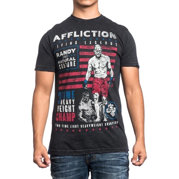 Футболка Affliction Couture Legend AfflictionФутболки<br>Футболка Affliction Couture Legend. Данная футболка посвящена Рэнди Кутюру - американскому спортсмену, выступавшему в греко-римской борьбе и ММА, пятикратному чемпиону UFC в тяжёлой и полутяжёлой весовых категориях, актёру и шоумену. Футболка Couture Living Legend имеет стандартные для Affliction качества: - Высококачественный хлопок. - Потрясающая прорисовка всех деталей на рисунках. - Использование только экологически чистых красок. Made in USA. Состав: 100% хлопок. Уход: машинная стирка, не гладить, деликатный отжим.<br><br>Размер INT: S