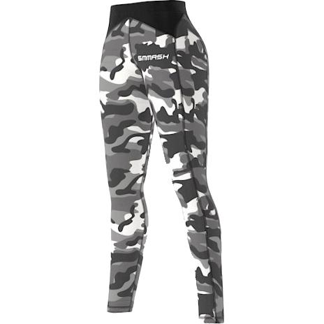Женские компрессионные штаны Smmash Camo Grey Smmash FightwearСпортивные штаны и шорты<br>Женские компрессионные штаны Smmash Camo Grey. Предназначены для улучшения кровообращения в мышцах, что, в свою очередь, способствует уменьшению времени на восстановление полной работоспособности мышцы. За счёт особенностей ткани штаны прекрасно садятся на фигуру, хорошо тянутся, абсолютно НЕ сковывают движения. Приятная на ощупь ткань. Плоские швы не натирают кожу. Предназначены для занятий кроссфитом, фитнесом, железным спортом и т. д. . Состав: полиэстер и спандекс. Уход: Машинная стирка в холодной воде, деликатный отжим, не отбеливать.<br><br>Размер INT: L