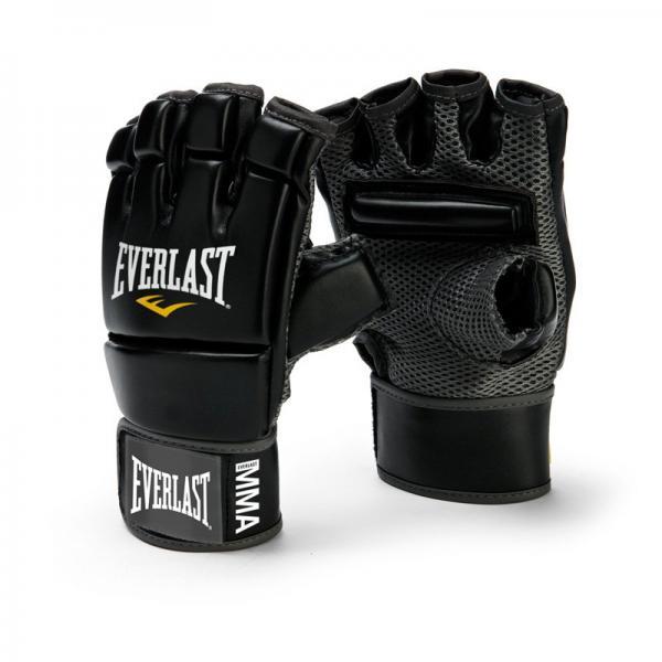 Перчатки Everlast MMA Kickboxing EverlastПерчатки MMA<br>Оригинальные перчатки Everlast MMA Kickboxing Gloves сделаны по уникальному дизайну с добавочной защитой костяшек и пальцев во в ходе занятий спортом. Длинная и комфортабельная манжета с застежкой на липучке позволяет кастомизировать их под необходимый размер, в то же в ходе плотно зафиксировав запястье. С внутренней стороны применяется сетчатый материал, что, совместно с технологиями EverCool™ и EverFresh™, гарантирует отличную циркуляцию воздуха и наивысшую степень удобства. Также, для большего удобства, на ладони располагается дополнительная планка. Перчатки для кикбоксинга MMA Kickboxing Gloves сшиты из первоклассного искусственной кожи, что гарантирует хорошую износостойкость и износостойкость, и предназначены для проработки с тяжелыми мешками и Тайскими подушками.<br>