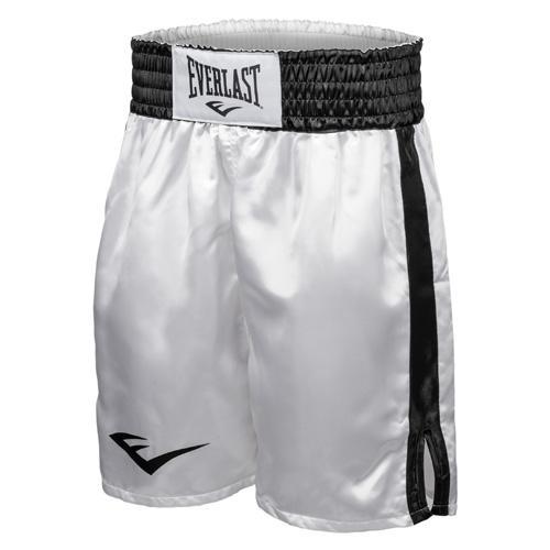 Шорты боксерские атласные Everlast, Бело-черные EverlastШорты для бокса<br>Трусы боксерские сделаны из первоклассного атласа. Широкий пояс гарантирует плотное облегание вокруг талии. Длина выше колена, высокие разрезы обеспечивают свободу движения боксера.<br><br>Размер INT: L