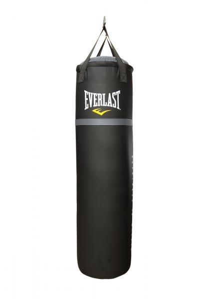Мешок Everlast 120 45кг, 120*35см, черн. EverlastСнаряды для бокса<br>Боксерский мешок классический EVERLAST. Отличный, недорогой вариант для дома. Мешок сделан из высококачественной синтетической кожи, капсула, наполненная под давлением специально смешанным наполнителем.<br>