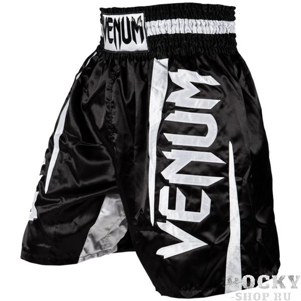 Боксёрские шорты Venum Elite, черные VenumШорты для бокса<br>Боксёрские шорты Venum Elite. Классические боксёрские шорты от Venum: широкий эластичный пояс и свободный удлинённый крой. Идеально подходят и для тренировочного процесса, и для соревнований. Боксёрские шорты Venum очень легкие, но при этом прочные. Благодаря свободному крою шорты для бокса Venum не создают никакого дискомфорта бойцу. Уход: машинная стирка в холодной воде, деликатный отжим, не отбеливать. Состав: 100% полиэстер.<br><br>Размер INT: XXL
