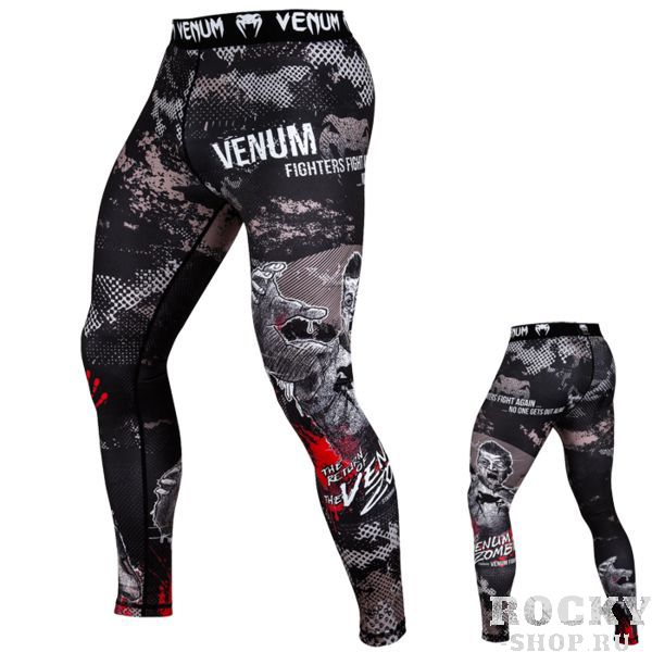 Компрессионные штаны Venum Zombie Return VenumКомпрессионные штаны / шорты<br>Компрессионные штаны Venum Zombie Return. С этими компрессионками от Venum вы будете думать только о тренировочном процессе, не отвлекаясь на неприятные ощущения в мышцах ног. Предназначены для улучшения кровообращения в мышцах, что, в свою очередь, способствует уменьшению времени на восстановление полной работоспособности мышцы. Прекрасно сидят на любом теле, хорошо тянутся, абсолютно НЕ сковывают движения. Очень приятная на ощупь ткань. Штаны Venum достаточно быстро сохнут. Плоские швы не натирают кожу. Предназначены для занятий самыми различными единоборствами, кроссфитом, фитнесом, железным спортом и т. д. . Уход: Машинная стирка в холодной воде, деликатный отжим, не отбеливать.<br><br>Размер INT: S