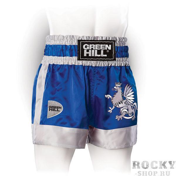 Шорты для тайского бокса/кикбоксинга Eagle, Синие Green HillШорты для тайского бокса/кикбоксинга<br>Трусы для кикбоксинга и тайского бокса GREEN HILL EAGLE выполнены из специального легкого атласного полиэстера. Трусы удобно сидят на теле, отводят влагу, сохраняя комфорт спортсмена, и быстро высыхают. На передней стороне расположена вышивка логотипа GREEN HILL и орла, которому данная модель обязана названием. <br>- 100% атласный полиэстер<br><br>- Легкий, приятный материал<br><br>- Отведение влаги<br><br>Размер INT: XS