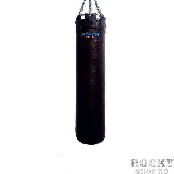 Боксерский мешок TOTALBOX серия Proffi, кожа, 45?120см, 75 кг AquaboxСнаряды для бокса<br>Материал: натуральная кожа (КRS);наполнитель: пенорезиновые гранулы/текстильное волокно;подвесная система - карабин, цепи, кольцо разъемное;цвет: черныйдиаметр - 45 см; высота - 120 см; вес - 75 кг<br>