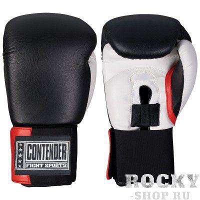 Перчатки боксерские тренировочные, липучка, 14 OZ ContenderБоксерские перчатки<br>Изготовлены из 100% кожи с влагонепроницаемым вкладышем из нейлона<br> Обеспечивают наивысшую защиту рук боксера, великолепный удобство и микроклимат изнутри перчаток<br> Перчатки металла мягче вследствие новым технологиям пены наивысшей плотности<br><br>Размер: Чёрный/белый