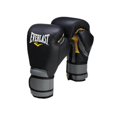 Купить Перчатки боксерские Everlast Pro Leather Strap, на липучке 18 oz черный (арт. 1692)
