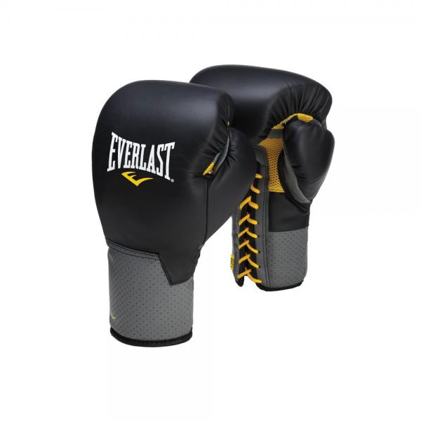 Перчатки боксерские Everlast Pro Leather Laced, на шнуровке, 16 OZ, Черный Everlast