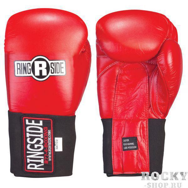 Перчатки боксёрские соревновательные, липучка, 12 OZ RINGSIDEБоксерские перчатки<br>Закреплённые большие пальцы препятствуют повреждение пальцев и глаз соперников<br> Перчатки обработаны водоотталкивающим составом<br> Традиционные манжеты с фиксатором липучка обеспечивают безопасное крепление и экстра поддержку предплечья.<br><br>Цвет: Красный