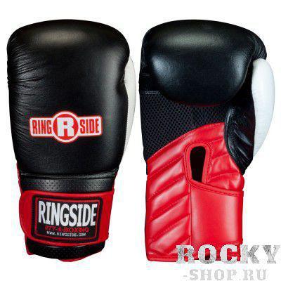 Перчатки боксёрские тренировочные, липучка, 16 OZ RINGSIDEБоксерские перчатки<br>Три полных слоя защитной поролоновой подстежки увеличивают безопасность<br> Качественное покрытие не будет заламываться во в ходе удара<br> Упругие манжеты способствуют добавочной поддержки для запястья<br><br>Цвет: Черный/красный/белый