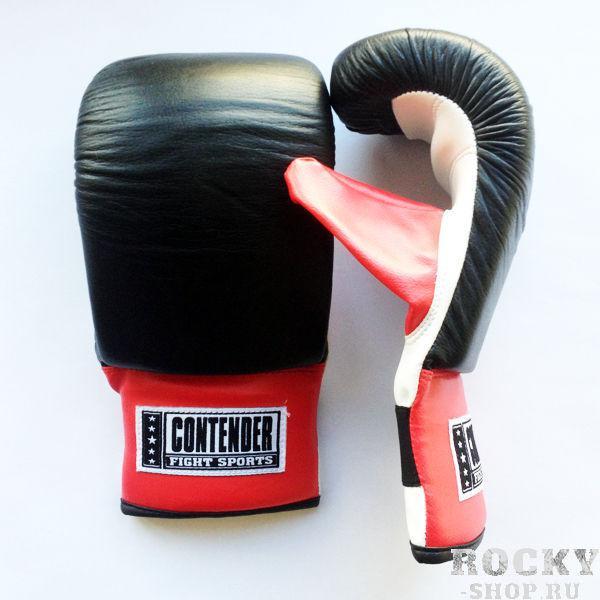 Перчатки снарядные, Чёрный/белый/красный ContenderCнарядные перчатки<br>Предусмотренная согнутая вид перчатки и более 2,5 см ячеистого пенистого наполнителя способствует наилучшим эксплуатационным качествам. <br> Перчатки изготовлены из первоклассной кожи, что придает им износостойкость и продолжительную защиту. <br> Перчатки незаменимы как при высокоинтенсивных тренировках с тяжёлыми снарядами, так и пневматическими грушами и растяжками.<br><br>Размер: Размер M