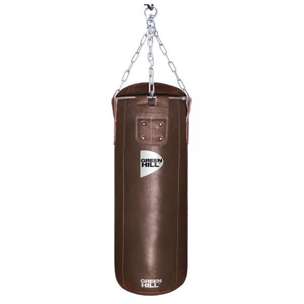 Боксерский мешок Green Hill Retro, двойная кожа, 50 кг, 120*35cм Green HillСнаряды для бокса<br>Профессиональный боксерский мешок Green Hill с технологией набивки Heavy Shell. Боксерские мешки компании Green Hill наполняются регенерированным волокном с помощью пресса с контролем давления. Чтобы регулировать вес и баланс, вдоль оси всего мешка установлены песочные гильзы. Благодаря своим свойствам такое волокно не сбивается в комки, не проседает вниз мешка и не высыпается. Технология внутреннего шва мешка такова, что он выдерживает максимальную нагрузку при ударе. Техника прострочки и швейный материал образуют максимально прочное соединение. <br>Высота мешка 120 см<br><br>Диаметр мешка 35 см<br><br>Вес набитого мешка 48-52кг<br><br>Материал верха: Натуральная кожа толщиной 2,5мм<br><br>Наполнитель: Регенированное волокно, песочные гильзы<br><br>Тип подвесной системы : Цепь<br>