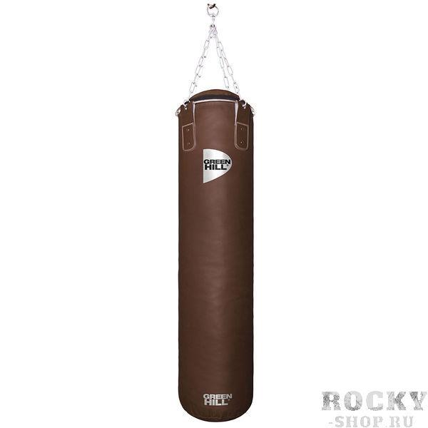 Боксерский мешок Green Hill Retro, искусственная кожа, 45 кг, 120*30 см Green HillСнаряды для бокса<br>Высота мешка 120 смДиаметр мешка 30 смВес набитого мешка 44-48кгМатериал верха: искусственная кожаНаполнитель: Регенированное волокно, песочные гильзыТип подвесной системы : Цепь<br>Профессиональный боксерский мешок Green Hill с технологией набивки Heavy Shell. <br>Боксерские мешки компании Green Hill наполняются регенерированным волокном с помощью пресса с контролем давления. Чтобы регулировать вес и баланс, вдоль оси всего мешка установлены песочные гильзы. Благодаря своим свойствам такое волокно не сбивается в комки, не проседает вниз мешка и не высыпается. Технология внутреннего шва мешка такова, что он выдерживает максимальную нагрузку при ударе. Техника прострочки и швейный материал образуют максимально прочное соединение. Армированные нити, и технология обратной обработки шва позволяют выдерживать удар до 1000 кг.<br>