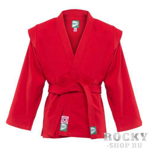 Детская куртка для самбо Green Hill js-302, Красная Green HillЭкипировка для Самбо<br>Куртка для САМБО. Лицензирована федерацией САМБО России. Материал: 100% хлопок. С поясом.<br><br>Размер: 120 см