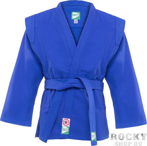 Куртка для самбо Green Hill js-302, Синяя Green HillЭкипировка для Самбо<br>Куртка для САМБО. Лицензирована федерацией САМБО России. Материал: 100% хлопок. С поясом.<br><br>Размер: 190 см