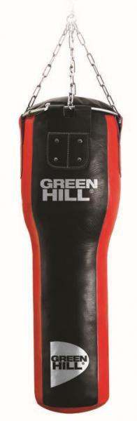 Мешок боксерский Green Hill, конус, кожа, 40 кг, 100*35/25cм Green HillСнаряды для бокса<br>Высота мешка 100 смДиаметр мешка 35/25 смВес набитого мешка 38-42кгМатериал верха: Натуральная кожа толщиной 2,5ммНаполнитель: Регенерированное волокно, песочные гильзыТип подвесной системы: цепь<br>Профессиональный боксерский мешок Green Hill с технологией набивки Heavy Shell. <br><br>Боксерские мешки компании Green Hill наполняются регенерированным волокном с помощью пресса с контролем давления. Чтобы регулировать вес и баланс, вдоль оси всего мешка установлены песочные гильзы. Благодаря своим свойствам такое волокно не сбивается в комки, не проседает вниз мешка и не высыпается. Технология внутреннего шва мешка такова, что он выдерживает максимальную нагрузку при ударе. Техника прострочки и швейный материал образуют максимально прочное соединение. Армированные нити, и технология обратной обработки шва позволяют выдерживать удар до 1000 кг<br>