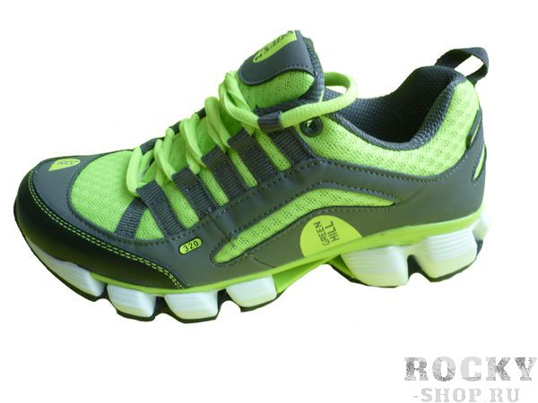 Кроссовки Green Hill, темно-серые с неоновым желтым Green HillКроссовки<br>Модель изготовлена из качественного материала практичной расцветки. Подходят как для занятий спортом, так и для повседневной носки. Материал: искусственная кожа, синтетическая сетка.<br><br>Размер INT: 35