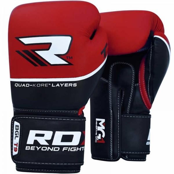 Перчатки боксерские RDX T9 Red, 10 унций RDXБоксерские перчатки<br>Перчатки боксерские RDX T9 Redизготовлены вручную извысокопрочной воловьей кожи.  Внутренняя часть состоит из трех слоев геля, созданного по технологииTri-Slab. Двухслойный интегрированный гель IMT обеспечивает наилучшее поглощение удара. Анатомическая форма перчаток RDX T9 Redспособствует правильному положению руки и большого пальца. Благодаря удлиненной манжете перчатки будут сидеть плотно даже на узком запястье. Специальная нейлоновая сетка, из которой выполнена внутренняя часть перчаток, обеспечит хорошую вентиляцию, а благодаря абсорбирующей ткани даже при длительной работе перчатки не будут влажными. Характеристики наполнение перчатки гель+IMT интегрированный гельсистема вентиляции сетка(3-х точечная круговая) манжет липучкаRDX Split система подкладка абсорбирующая ткань<br>